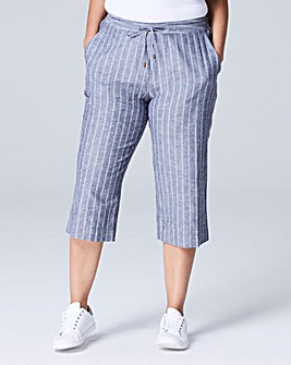 Stripe Linen Mix Crop Trouser Reg