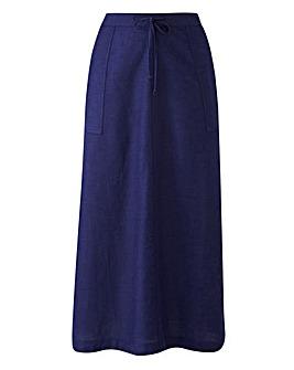 Linen Mix Midi Skirt