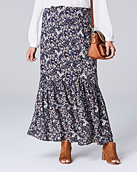 Floral Print Button Front Maxi Skirt