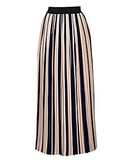 Striped Pleat Maxi Length Skirt
