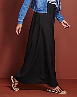 Linen Mix Maxi Skirt Long