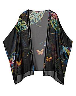 Printed Ladder Trim Kimono