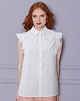 White Embroidered Ruffle Sleeve Blouse