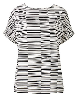 Ivory Stripe Drop Sleeve Shell Top