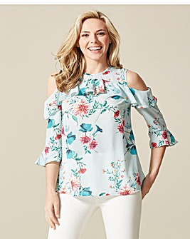 Floral Print Ruffle Cold Shoulder Blouse