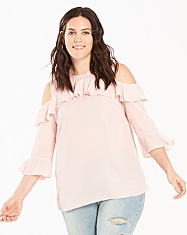 Peach/Spot Ruffle Cold Shoulder Blouse