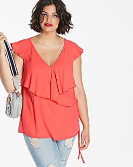 Soft Orange Sleeveless Ruffle Blouse