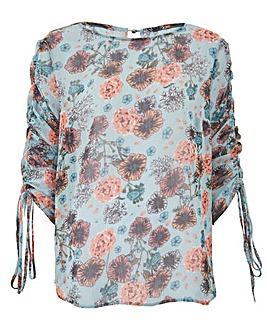 Turquoise Print Satin Stripe Blouse