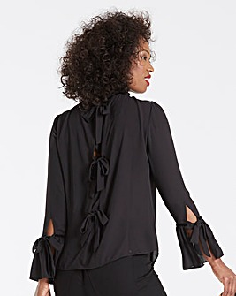 Black Tie Back Velvet Trim Blouse