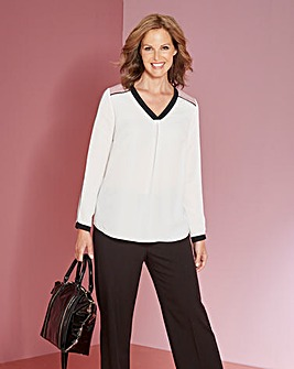 Blush/Ivory Colour Block V Neck Blouse