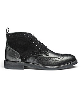 Premium Leather Lace Up Brogue Boots