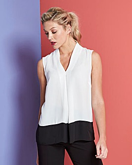 Black/White V Neck Colour Block Tunic