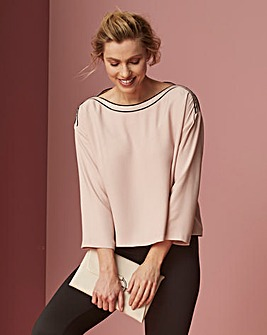 Blush Boat Neck Blouse With Split Back