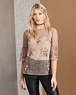 Embellished Mesh Shell Top
