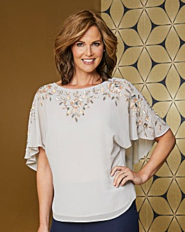 Soft Grey Embellished Angel Sleeve Top