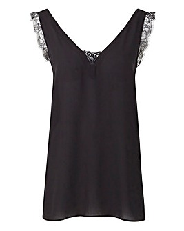 V Neck Lace Vest With Mock Buttons