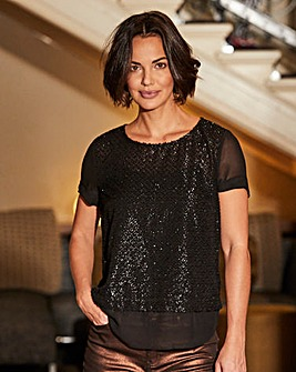 Metallic Fibre Short Sleeve Top