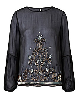 Black Embellished Peasant Sleeve Blouse