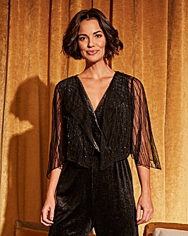 Beaded Short Sleeve Drape Shrug
