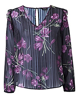 Blackcurrant Print Shoulder Frill Blouse