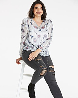 Grey Daisy Burn Out Print Blouse