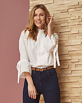 White Ruffle Neck Pleated Front Blouse