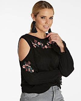Black Embroidered Cold Shoulder Blouse