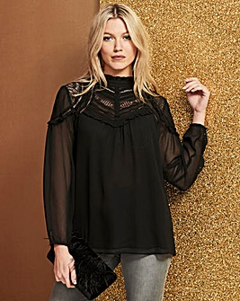 Black Mesh Blouse With Lace/Pleated Neck