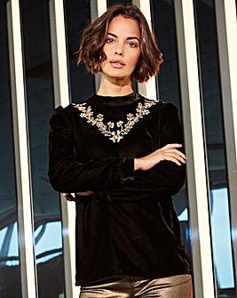 Black Velvet Embroidered High Neck Top