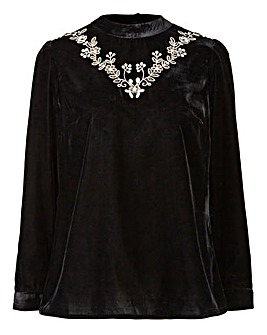 Black Velvet Embroidered High Neck Top