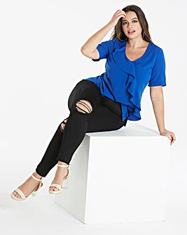 Cobalt Blue Bubble Frill Front Blouse