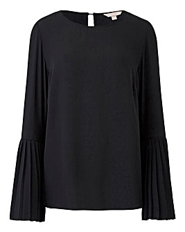 Black Pleated Cuff Blouse