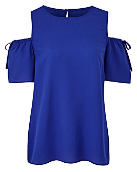 Cobalt Blue Cold Shoulder Shell Top