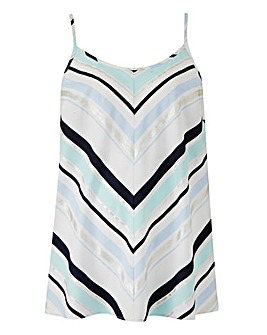 Blue Chevron Stripe Strappy Cami Top