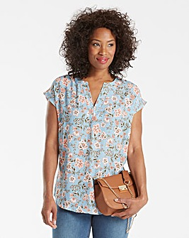Pale Blue Print V Neck Ladder Insert Top