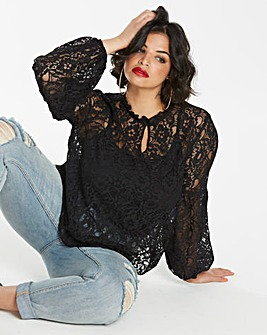 Black Lace Peasant Sleeve Blouse