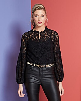 Black Lace Peasant Sleeve Blouse
