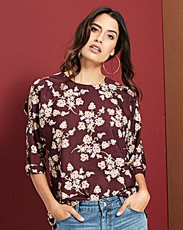 Blossom Foil Print Drop Sleeve Top