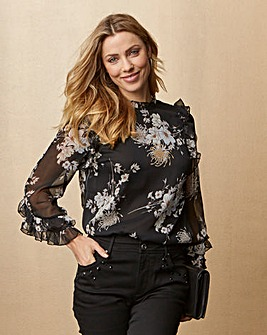 Black Print 3/4 Sleeve Ruffle Top