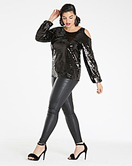 Black Sequin Cold Shoulder Top
