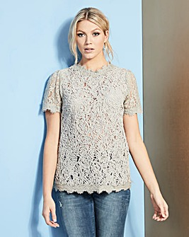 Pale Grey Cornelli Lace Shell Top