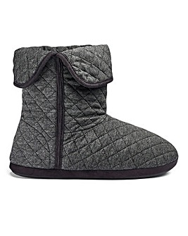Grey Jersey Quilted Slipper Boot