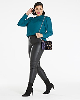 Teal Puff Sleeve Blouse