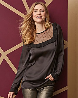 Black Mesh Yoke Blouse