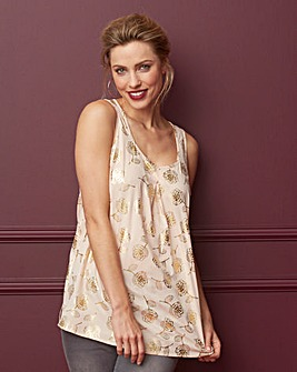 Floral Foil Print Sleeveless Vest Top