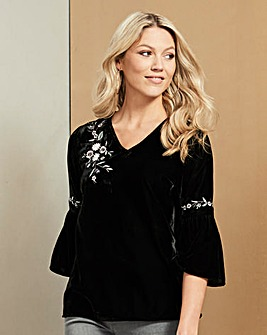 Black Embroidered Velvet Shell Top