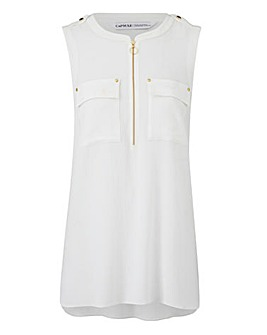 Sleeveless Zip Front Tunic