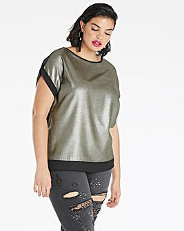 Pewter Foil Print Drop Sleeve Boxy Top
