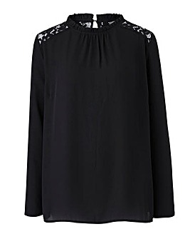 Black Frill Neck Lace Yoke Blouse