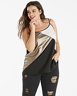 Black/Pewter Foil Cut About Strappy Cami